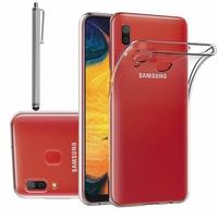 """Samsung Galaxy A20 6.4"""" SM-A205F/ A205F/DS (non compatible Galaxy A20e 5.8"""") [Les Dimensions EXACTES du telephone: 158.4 x 74.7 x 7.8 mm]: Accessoire Housse Etui Coque gel UltraSlim et Ajustement parfait + Stylet - TRANSPARENT"""