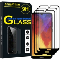 """Huawei Y6 (2019)/ Y6 Prime (2019) 6.09"""" (non compatible Huawei Y6 (2017)/ Y6 (2018)) [Les Dimensions EXACTES du telephone: 156.3 x 73.5 x 8 mm]: Lot / Pack de 3 Films de protection d'écran Verre Trempé"""