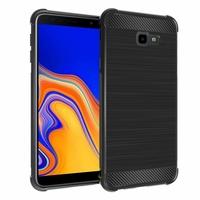 """Samsung Galaxy J4+/ J4 Plus (2018) 6.0"""" (non compatible Galaxy J4 5.5"""") [Les Dimensions EXACTES du telephone: 161.4 x 76.9 x 7.9 mm]: Coque Housse Silicone Souple en Fibre de Carbone Brossé motif TPU Case - NOIR"""