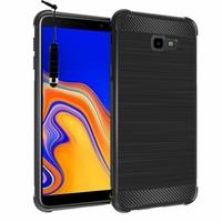 """Samsung Galaxy J4+/ J4 Plus (2018) 6.0"""" (non compatible Galaxy J4 5.5"""") [Les Dimensions EXACTES du telephone: 161.4 x 76.9 x 7.9 mm]: Coque Housse Silicone Souple en Fibre de Carbone Brossé motif TPU Case + mini Stylet - NOIR"""