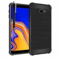 """Samsung Galaxy J4+/ J4 Plus (2018) 6.0"""" (non compatible Galaxy J4 5.5"""") [Les Dimensions EXACTES du telephone: 161.4 x 76.9 x 7.9 mm]: Coque Housse Silicone Souple en Fibre de Carbone Brossé motif TPU Case + Stylet - NOIR"""