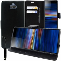 "Sony Xperia 10/ Xperia XA3 6.0"" I3113 I4113 I4193 I3123 (non compatible Xperia 10 Plus 6.5"") [Les Dimensions EXACTES du telephone: 155.7 x 68 x 8.4 mm]: Accessoire Etui portefeuille Livre Housse Coque Pochette support vidéo cuir PU + mini Stylet - NOIR"