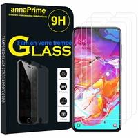 """Samsung Galaxy A70 6.7"""" SM-A705F/ SM-A7050/ SM-A705FN/ SM-A705F/DS [Les Dimensions EXACTES du telephone: 164.3 x 76.7 x 7.9 mm]: Lot / Pack de 3 Films de protection d'écran Verre Trempé"""