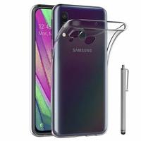 """Samsung Galaxy A40 5.9"""" SM-A405F/ SM-A405FN/ SM-A405F/DS/ SM-A405FN/DS [Les Dimensions EXACTES du telephone: 144.4 x 69.2 x 7.9 mm]: Accessoire Housse Etui Coque gel UltraSlim et Ajustement parfait + Stylet - TRANSPARENT"""