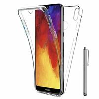 """Huawei Y6 (2019)/ Y6 Prime (2019) 6.09"""" (non compatible Huawei Y6 (2017)/ Y6 (2018)) [Les Dimensions EXACTES du telephone: 156.3 x 73.5 x 8 mm]: Coque Housse Silicone Gel TRANSPARENTE ultra mince 360° protection intégrale Avant et Arrière + Stylet - TR"""