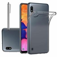"""Samsung Galaxy A10 6.2"""" SM-A105F/ A105F/DS [Les Dimensions EXACTES du telephone: 155.6 x 75.6 x 7.9 mm]: Accessoire Housse Etui Coque gel UltraSlim et Ajustement parfait + Stylet - TRANSPARENT"""