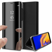 """Samsung Galaxy J4+/ J4 Plus (2018) 6.0"""" (non compatible Galaxy J4 5.5"""") [Les Dimensions EXACTES du telephone: 161.4 x 76.9 x 7.9 mm]: Clear View Housse Etui Flip Folio Support Vidéo Effet Mirroir - NOIR"""