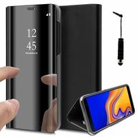 """Samsung Galaxy J4+/ J4 Plus (2018) 6.0"""" (non compatible Galaxy J4 5.5"""") [Les Dimensions EXACTES du telephone: 161.4 x 76.9 x 7.9 mm]: Clear View Housse Etui Flip Folio Support Vidéo Effet Mirroir + mini Stylet - NOIR"""
