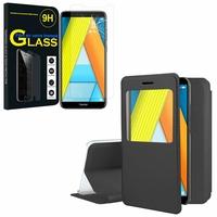"""Huawei Enjoy 8E 5.7"""" ATU-AL10 ATU-TL10: Etui View Case Flip Folio Leather cover - NOIR + 1 Film de protection d'écran Verre Trempé"""