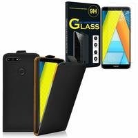 """Huawei Enjoy 8E 5.7"""" ATU-AL10 ATU-TL10: Etui Coque Housse Pochette Accessoires cuir slim ultra fine - NOIR + 1 Film de protection d'écran Verre Trempé"""
