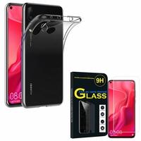 """Huawei Nova 4 6.4"""" VCE-AL00/ VCE-TL00: Etui Housse Pochette Accessoires Coque gel UltraSlim - TRANSPARENT + 1 Film de protection d'écran Verre Trempé"""