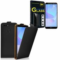 """Huawei Y6 Prime (2018) 5.7"""" ATU-L31 ATU-L42: Etui Coque Housse Pochette Accessoires cuir slim ultra fine - NOIR + 1 Film de protection d'écran Verre Trempé"""