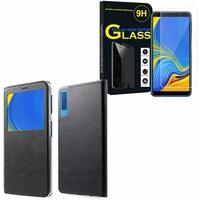 """Samsung Galaxy A7 (2018) 6.0"""" SM-A750F: Etui View Case Flip Folio Leather cover - NOIR + 1 Film de protection d'écran Verre Trempé"""