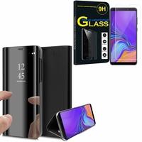 """Samsung Galaxy A9 (2018) 6.3"""" SM-A920F/ Galaxy A9S/ A9 Star Pro: Clear View Housse Etui Flip Folio Support Vidéo Effet Mirroir - NOIR + 1 Film de protection d'écran Verre Trempé"""