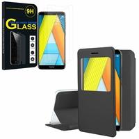 """Huawei Enjoy 8E 5.7"""" ATU-AL10 ATU-TL10: Etui View Case Flip Folio Leather cover - NOIR + 2 Films de protection d'écran Verre Trempé"""