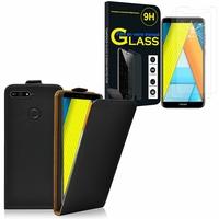 """Huawei Enjoy 8E 5.7"""" ATU-AL10 ATU-TL10: Etui Coque Housse Pochette Accessoires cuir slim ultra fine - NOIR + 2 Films de protection d'écran Verre Trempé"""