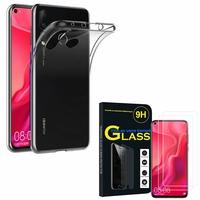 """Huawei Nova 4 6.4"""" VCE-AL00/ VCE-TL00: Etui Housse Pochette Accessoires Coque gel UltraSlim - TRANSPARENT + 2 Films de protection d'écran Verre Trempé"""