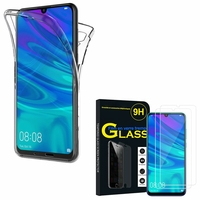 """Huawei P Smart (2019) 6.21"""" POT-LX3/ POT-LX1/ POT-AL00/ POT-LX1AF/ POT-LX2J/ POT-LX1RUA: Coque Housse Silicone Gel TRANSPARENTE ultra mince 360° protection intégrale Avant et Arrière - TRANSPARENT + 2 Films de protection d'écran Verre Trempé"""