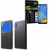 """Samsung Galaxy A7 (2018) 6.0"""" SM-A750F: Etui View Case Flip Folio Leather cover - NOIR + 2 Films de protection d'écran Verre Trempé"""