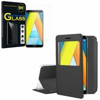 """Huawei Enjoy 8E 5.7"""" ATU-AL10 ATU-TL10: Etui View Case Flip Folio Leather cover - NOIR + 3 Films de protection d'écran Verre Trempé"""