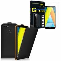 """Huawei Enjoy 8E 5.7"""" ATU-AL10 ATU-TL10: Etui Coque Housse Pochette Accessoires cuir slim ultra fine - NOIR + 3 Films de protection d'écran Verre Trempé"""