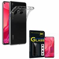 """Huawei Nova 4 6.4"""" VCE-AL00/ VCE-TL00: Etui Housse Pochette Accessoires Coque gel UltraSlim - TRANSPARENT + 3 Films de protection d'écran Verre Trempé"""