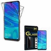 """Huawei P Smart (2019) 6.21"""" POT-LX3/ POT-LX1/ POT-AL00/ POT-LX1AF/ POT-LX2J/ POT-LX1RUA: Coque Housse Silicone Gel TRANSPARENTE ultra mince 360° protection intégrale Avant et Arrière - TRANSPARENT + 3 Films de protection d'écran Verre Trempé"""