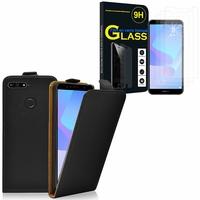 """Huawei Y6 Prime (2018) 5.7"""" ATU-L31 ATU-L42: Etui Coque Housse Pochette Accessoires cuir slim ultra fine - NOIR + 3 Films de protection d'écran Verre Trempé"""