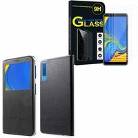 """Samsung Galaxy A7 (2018) 6.0"""" SM-A750F: Etui View Case Flip Folio Leather cover - NOIR + 3 Films de protection d'écran Verre Trempé"""