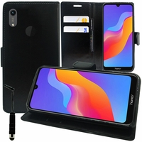 """Huawei Honor Play 8A 6.09"""" JAT-AL00 JAT-TL00 (non compatible Honor Play (2018) 6.3""""): Accessoire Etui portefeuille Livre Housse Coque Pochette support vidéo cuir PU + mini Stylet - NOIR"""
