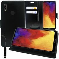 """Huawei Y6 Pro (2019) 6.09"""" MRD-LX2 (non compatible Huawei Y6 Pro (2017)): Accessoire Etui portefeuille Livre Housse Coque Pochette support vidéo cuir PU + mini Stylet - NOIR"""