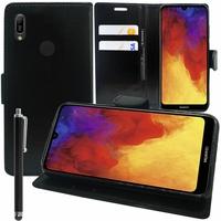 """Huawei Y6 Pro (2019) 6.09"""" MRD-LX2 (non compatible Huawei Y6 Pro (2017)): Accessoire Etui portefeuille Livre Housse Coque Pochette support vidéo cuir PU + Stylet - NOIR"""