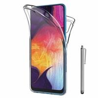 """Samsung Galaxy A50 SM-A505F 6.4"""" [Les Dimensions EXACTES du telephone: 158.5 x 74.7 x 7.7 mm]: Coque Housse Silicone Gel TRANSPARENTE ultra mince 360° protection intégrale Avant et Arrière + Stylet - TRANSPARENT"""