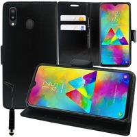 """Samsung Galaxy M20 6.3"""" SM-M205F/ M205F/DS [Les Dimensions EXACTES du telephone: 156.4 x 74.5 x 8.8 mm]: Accessoire Etui portefeuille Livre Housse Coque Pochette support vidéo cuir PU + mini Stylet - NOIR"""