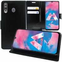 """Samsung Galaxy M30 SM-M305F 6.4"""" [Les Dimensions EXACTES du telephone: 159 x 75.1 x 8.4 mm]: Accessoire Etui portefeuille Livre Housse Coque Pochette support vidéo cuir PU - NOIR"""