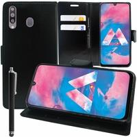 """Samsung Galaxy M30 SM-M305F 6.4"""" [Les Dimensions EXACTES du telephone: 159 x 75.1 x 8.4 mm]: Accessoire Etui portefeuille Livre Housse Coque Pochette support vidéo cuir PU + Stylet - NOIR"""