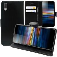 """Sony Xperia L3 5.7"""" I3312 I4312 I4332 I3322 [Les Dimensions EXACTES du telephone: 154 x 72 x 8.9 mm]: Accessoire Etui portefeuille Livre Housse Coque Pochette support vidéo cuir PU - NOIR"""