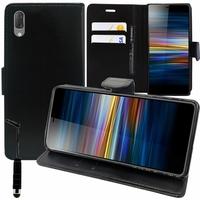 """Sony Xperia L3 5.7"""" I3312 I4312 I4332 I3322 [Les Dimensions EXACTES du telephone: 154 x 72 x 8.9 mm]: Accessoire Etui portefeuille Livre Housse Coque Pochette support vidéo cuir PU + mini Stylet - NOIR"""