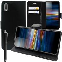 """Sony Xperia L3 5.7"""" I3312 I4312 I4332 I3322 [Les Dimensions EXACTES du telephone: 154 x 72 x 8.9 mm]: Accessoire Etui portefeuille Livre Housse Coque Pochette support vidéo cuir PU + Stylet - NOIR"""