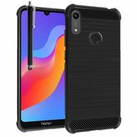 """Huawei Honor 8A Pro/ Honor 8A 6.09"""" JAT-L41 JAT-AL00 JAT-TL00 (non compatible Honor 8 Pro 5.7""""): Coque Housse Silicone Souple en Fibre de Carbone Brossé motif TPU Case + Stylet - NOIR"""