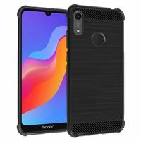 """Huawei Honor Play 8A 6.09"""" JAT-AL00 JAT-TL00 (non compatible Honor Play (2018) 6.3""""): Coque Housse Silicone Souple en Fibre de Carbone Brossé motif TPU Case - NOIR"""