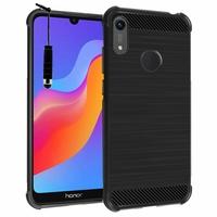 """Huawei Honor Play 8A 6.09"""" JAT-AL00 JAT-TL00 (non compatible Honor Play (2018) 6.3""""): Coque Housse Silicone Souple en Fibre de Carbone Brossé motif TPU Case + mini Stylet - NOIR"""