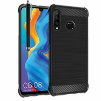 "Huawei Nova 4e 6.15"" MAR-LX2/ MAR-AL00/ MAR-TL00 (non compatible Huawei Nova 4 6.4""): Coque Housse Silicone Souple en Fibre de Carbone Brossé motif TPU Case + Stylet - NOIR"