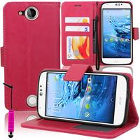 Acer Liquid Jade Z: Accessoire Etui portefeuille Livre Housse Coque Pochette support vidéo cuir PU + mini Stylet - ROSE