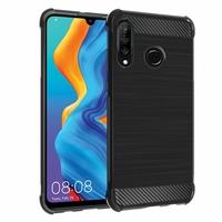 """Huawei P30 Lite 6.15"""" MAR-LX1M/ MAR-AL00/ MAR-TL00 (non compatible Huawei P30/ P30 Pro): Coque Housse Silicone Souple en Fibre de Carbone Brossé motif TPU Case - NOIR"""