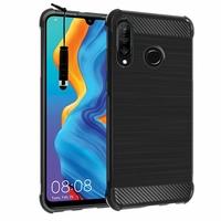 """Huawei P30 Lite 6.15"""" MAR-LX1M/ MAR-AL00/ MAR-TL00 (non compatible Huawei P30/ P30 Pro): Coque Housse Silicone Souple en Fibre de Carbone Brossé motif TPU Case + mini Stylet - NOIR"""