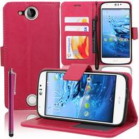 Acer Liquid Jade Z: Accessoire Etui portefeuille Livre Housse Coque Pochette support vidéo cuir PU + Stylet - ROSE