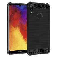"""Huawei Y6 Pro (2019) 6.09"""" MRD-LX2 (non compatible Huawei Y6 Pro (2017)): Coque Housse Silicone Souple en Fibre de Carbone Brossé motif TPU Case - NOIR"""