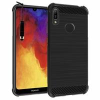 """Huawei Y6 Pro (2019) 6.09"""" MRD-LX2 (non compatible Huawei Y6 Pro (2017)): Coque Housse Silicone Souple en Fibre de Carbone Brossé motif TPU Case + mini Stylet - NOIR"""
