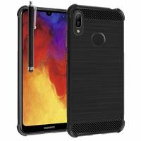"""Huawei Y6 Pro (2019) 6.09"""" MRD-LX2 (non compatible Huawei Y6 Pro (2017)): Coque Housse Silicone Souple en Fibre de Carbone Brossé motif TPU Case + Stylet - NOIR"""